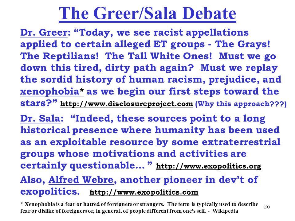 26 The Greer/Sala Debate Dr.