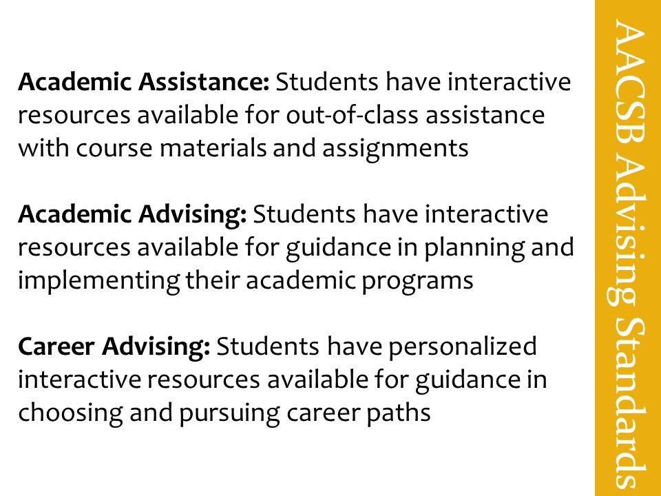 AACSB Advising Standards Academic Assistance: Students have interactive resources available for out-of-class assistance with course materials and assi