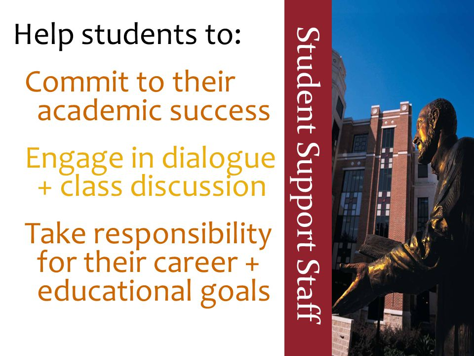 Student Support Staff Help students to: Commit to their academic success Engage in dialogue + class discussion Take responsibility for their career +