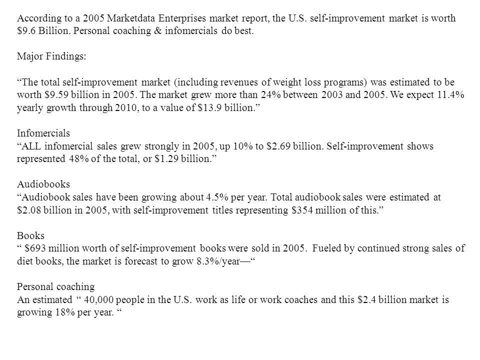 According to a 2005 Marketdata Enterprises market report, the U.S. self-improvement market is worth $9.6 Billion. Personal coaching & infomercials do