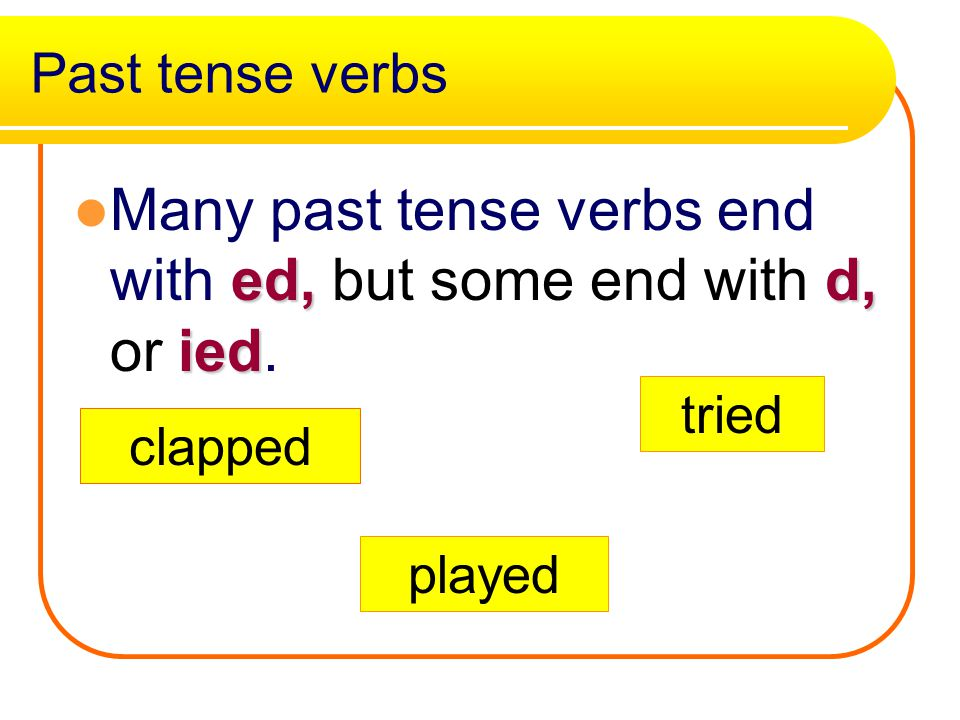 Past Verbs Verbs which tell about actions which happened some time ago are past tense verbs. wanted The dog wanted a bone. Wanted is a past tense verb
