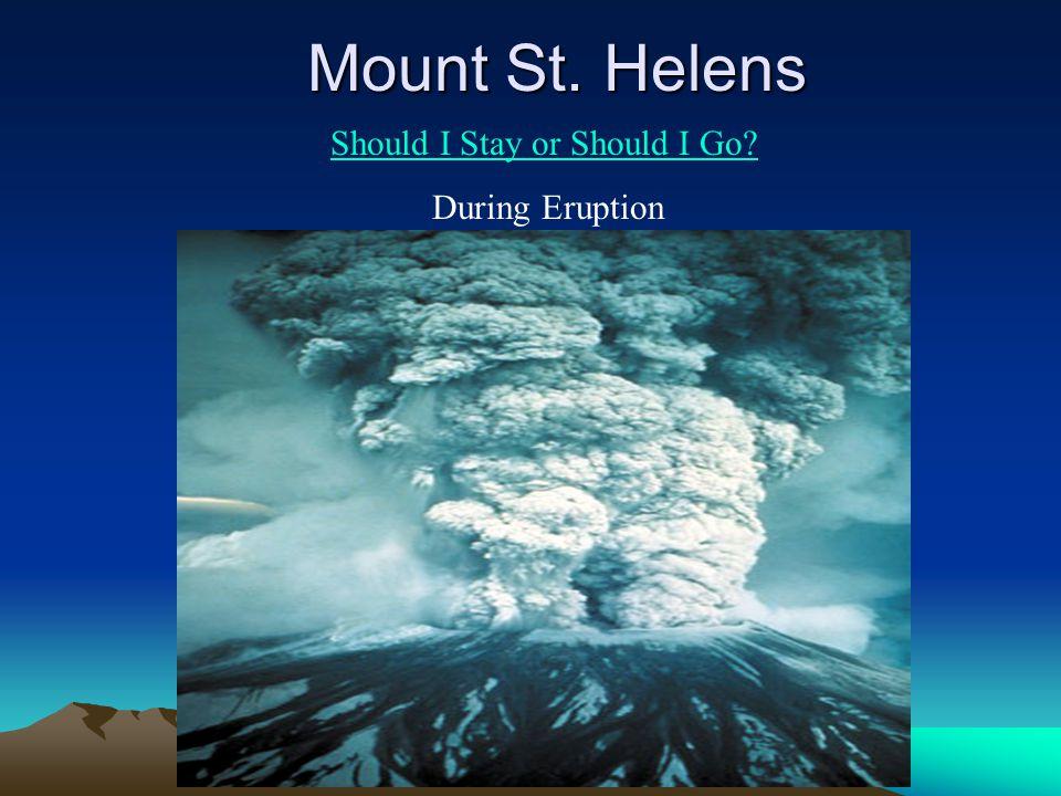 Mount St. Helens Should I Stay or Should I Go? During Eruption
