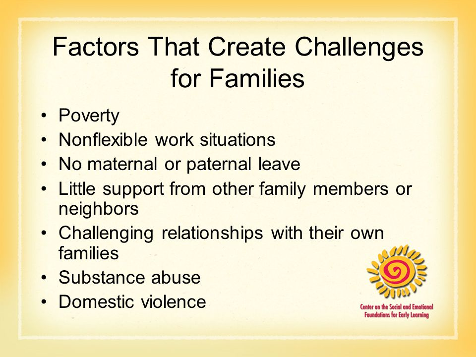Factors That Create Challenges for Families Poverty Nonflexible work situations No maternal or paternal leave Little support from other family members or neighbors Challenging relationships with their own families Substance abuse Domestic violence