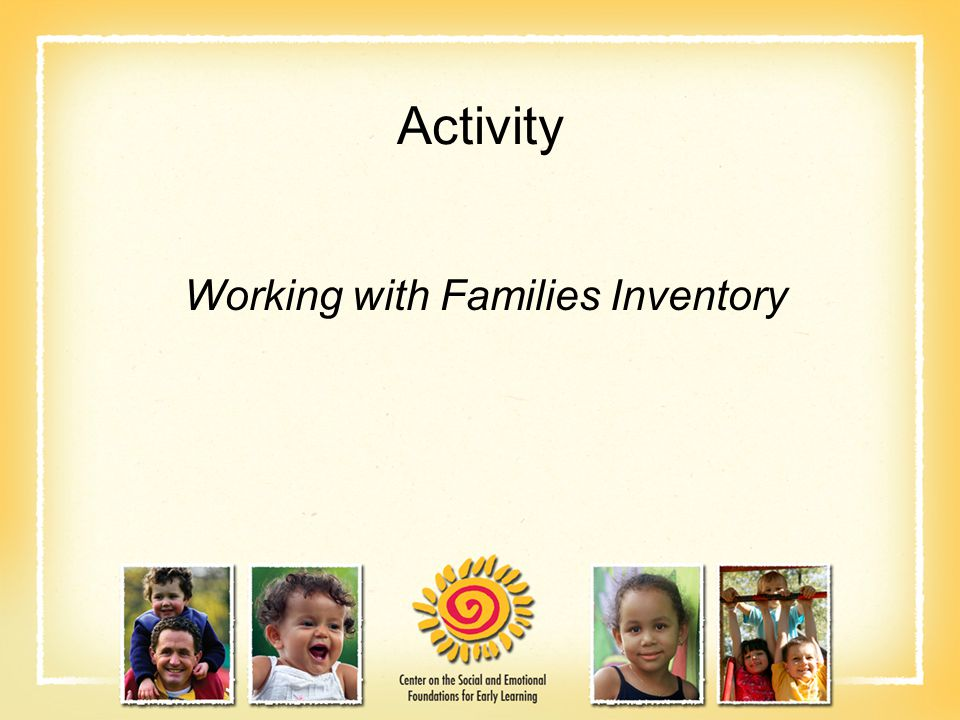 Activity Working with Families Inventory