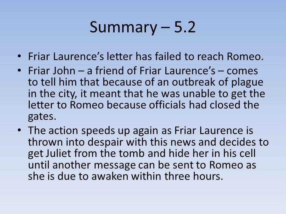 Summary – 5.2 Friar Laurence's letter has failed to reach Romeo.