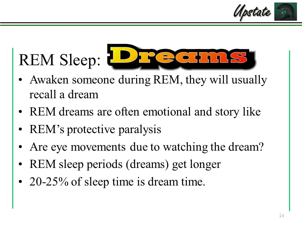 REM Sleep: Awaken someone during REM, they will usually recall a dream REM dreams are often emotional and story like REM's protective paralysis Are eye movements due to watching the dream.