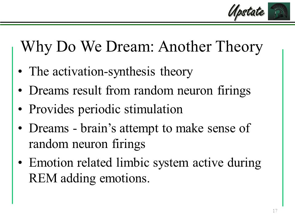 Why Do We Dream: Another Theory The activation-synthesis theory Dreams result from random neuron firings Provides periodic stimulation Dreams - brain's attempt to make sense of random neuron firings Emotion related limbic system active during REM adding emotions.