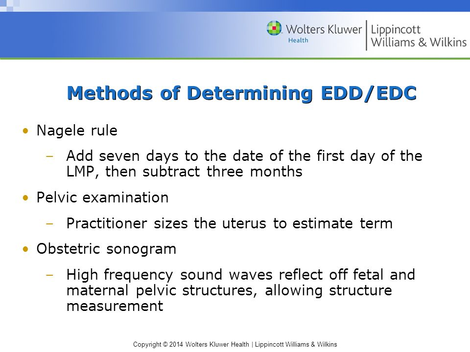 Copyright © 2014 Wolters Kluwer Health | Lippincott Williams & Wilkins Methods of Determining EDD/EDC Nagele rule –Add seven days to the date of the f