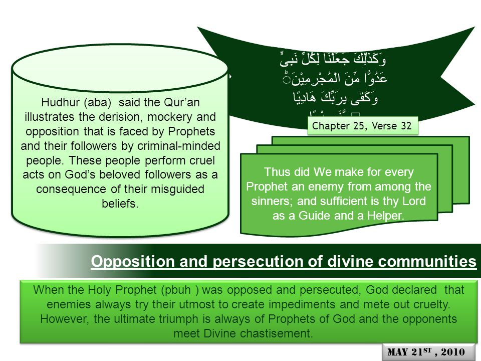 Opposition and persecution of divine communities Thus did We make for every Prophet an enemy from among the sinners; and sufficient is thy Lord as a Guide and a Helper.