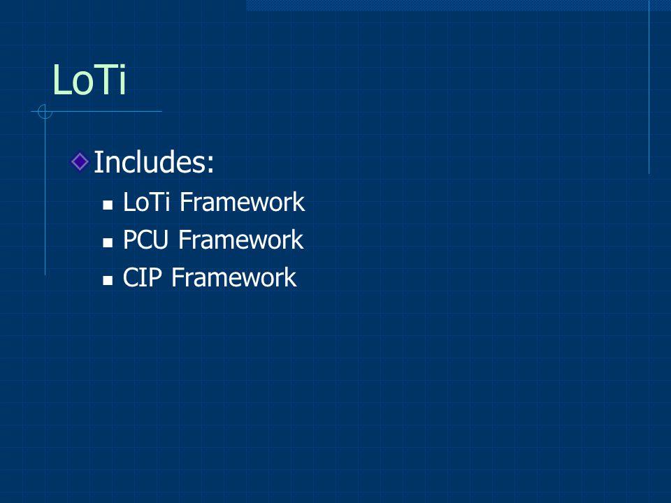 LoTi Includes: LoTi Framework PCU Framework CIP Framework