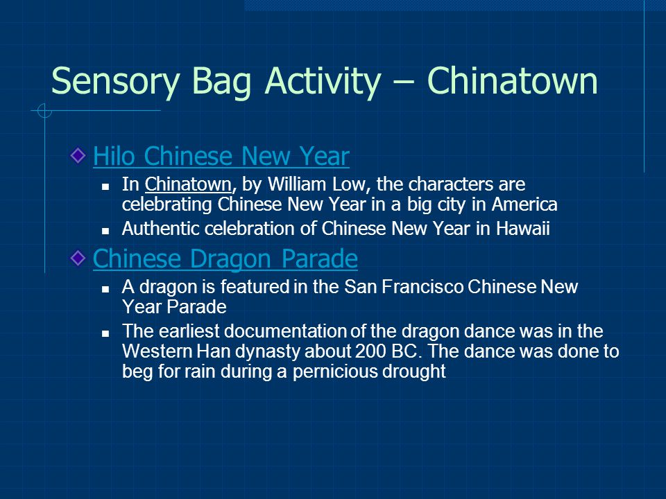 Sensory Bag Activity – Chinatown Hilo Chinese New Year In Chinatown, by William Low, the characters are celebrating Chinese New Year in a big city in