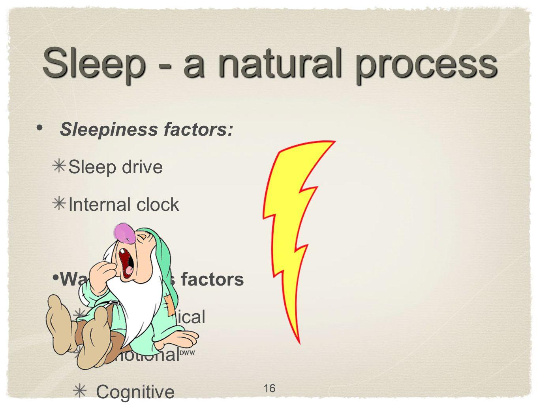 Sleep - a natural process Sleepiness factors: Sleep drive Internal clock Wakefulness factors Physiological Emotional Cognitive 16