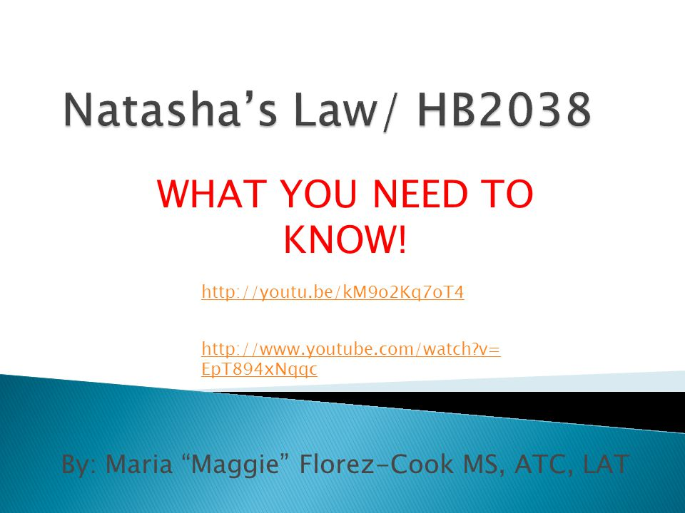 By: Maria Maggie Florez-Cook MS, ATC, LAT WHAT YOU NEED TO KNOW.