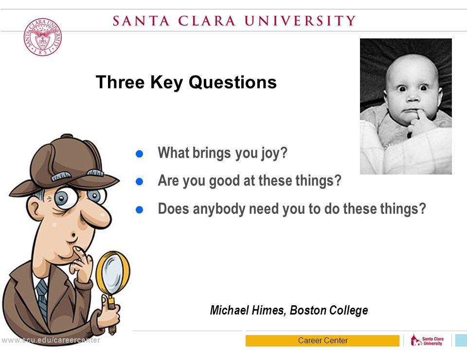 Three Key Questions  What brings you joy?  Are you good at these things?  Does anybody need you to do these things? Michael Himes, Boston College C