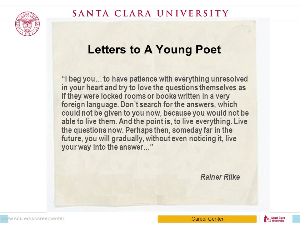 "Letters to A Young Poet ""I beg you… to have patience with everything unresolved in your heart and try to love the questions themselves as if they were"