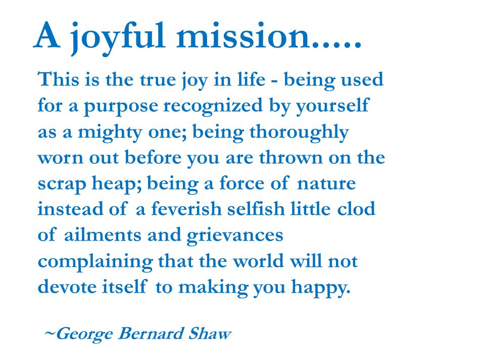 A joyful mission.....