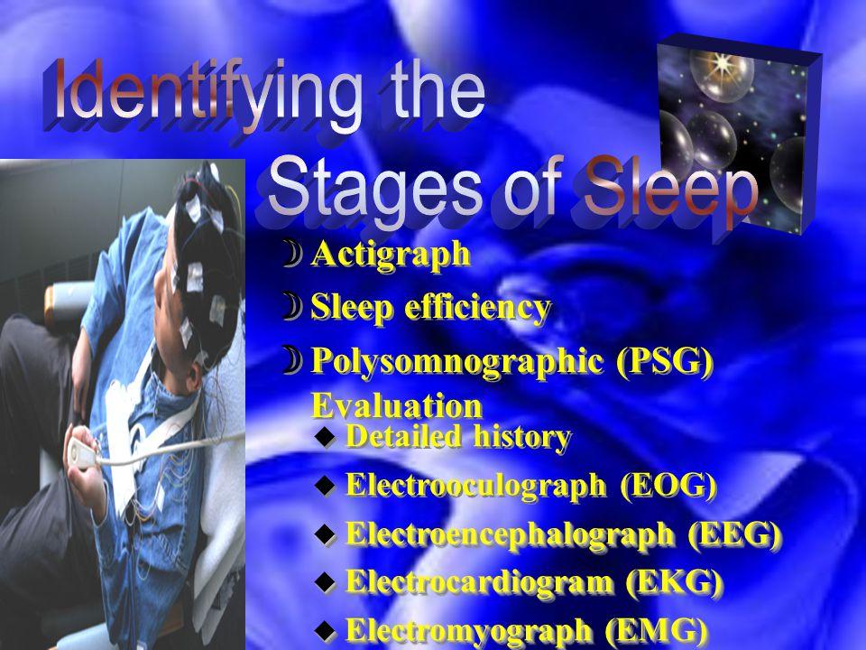  Actigraph  Sleep efficiency  Polysomnographic (PSG) Evaluation  Actigraph  Sleep efficiency  Polysomnographic (PSG) Evaluation u Detailed history u Electrooculograph (EOG) u Electroencephalograph (EEG) u Electrocardiogram (EKG) u Electromyograph (EMG) u Detailed history u Electrooculograph (EOG) u Electroencephalograph (EEG) u Electrocardiogram (EKG) u Electromyograph (EMG)