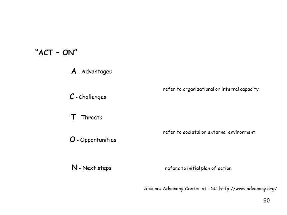 60 ACT – ON A - Advantages refer to organizational or internal capacity C - Challenges T - Threats refer to societal or external environment O - Opportunities N - Next steps refers to initial plan of action Source: Advocacy Center at ISC.