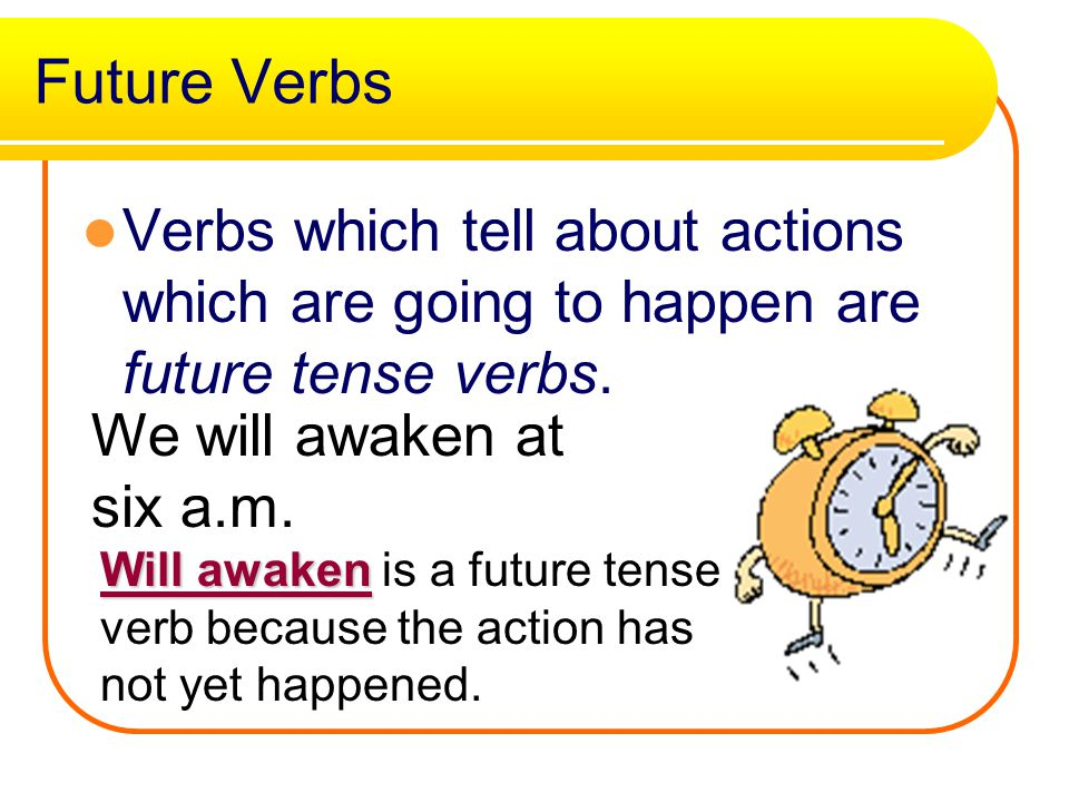 Past tense verbs ed, d, ied Many past tense verbs end with ed, but some end with d, or ied.