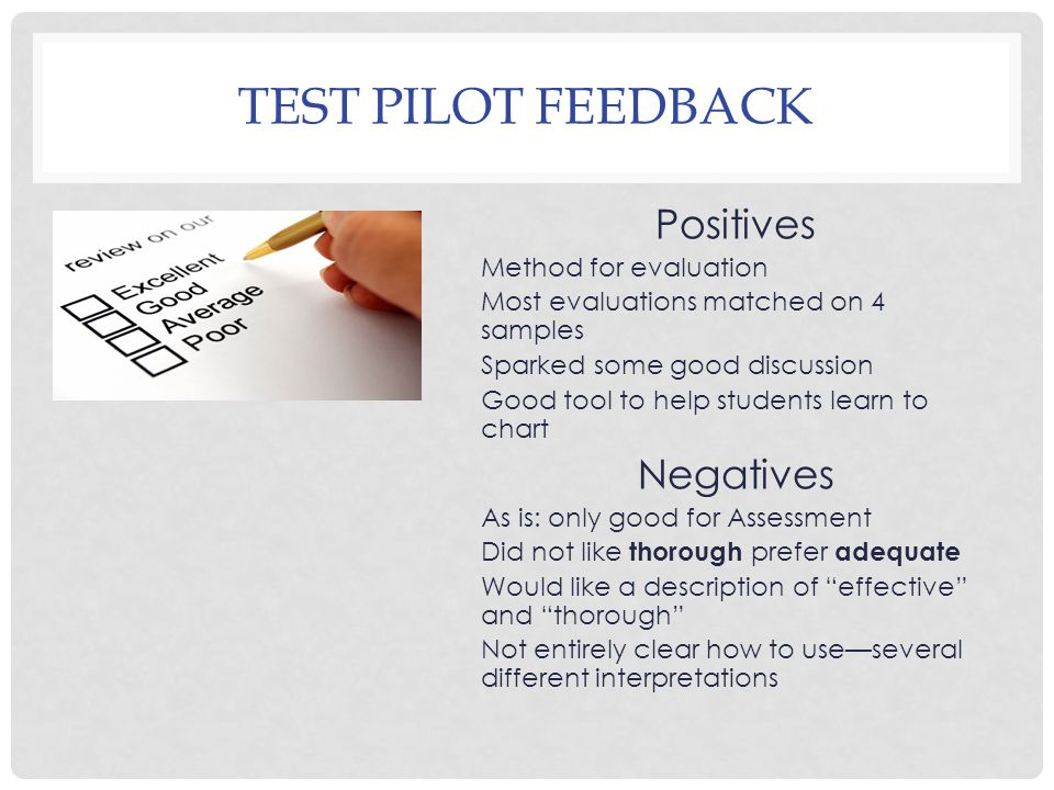 TEST PILOT FEEDBACK Positives Method for evaluation Most evaluations matched on 4 samples Sparked some good discussion Good tool to help students learn to chart Negatives As is: only good for Assessment Did not like thorough prefer adequate Would like a description of effective and thorough Not entirely clear how to use—several different interpretations