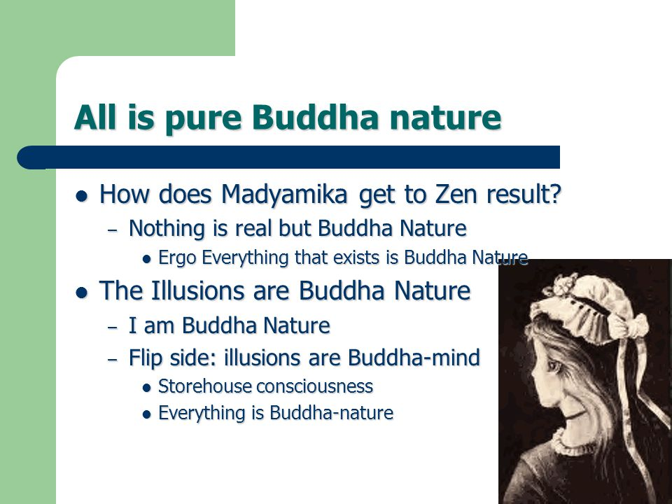 All is pure Buddha nature How does Madyamika get to Zen result.