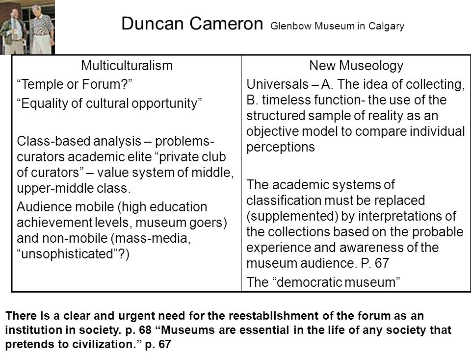 Duncan Cameron Glenbow Museum in Calgary Multiculturalism Temple or Forum Equality of cultural opportunity Class-based analysis – problems- curators academic elite private club of curators – value system of middle, upper-middle class.