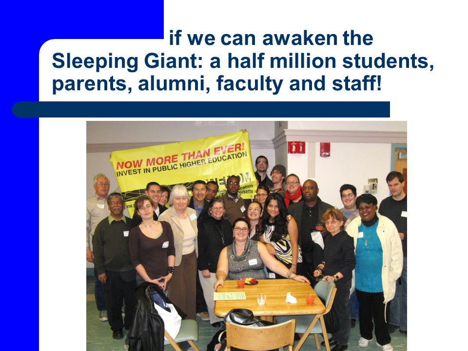 if we can awaken the Sleeping Giant: a half million students, parents, alumni, faculty and staff!