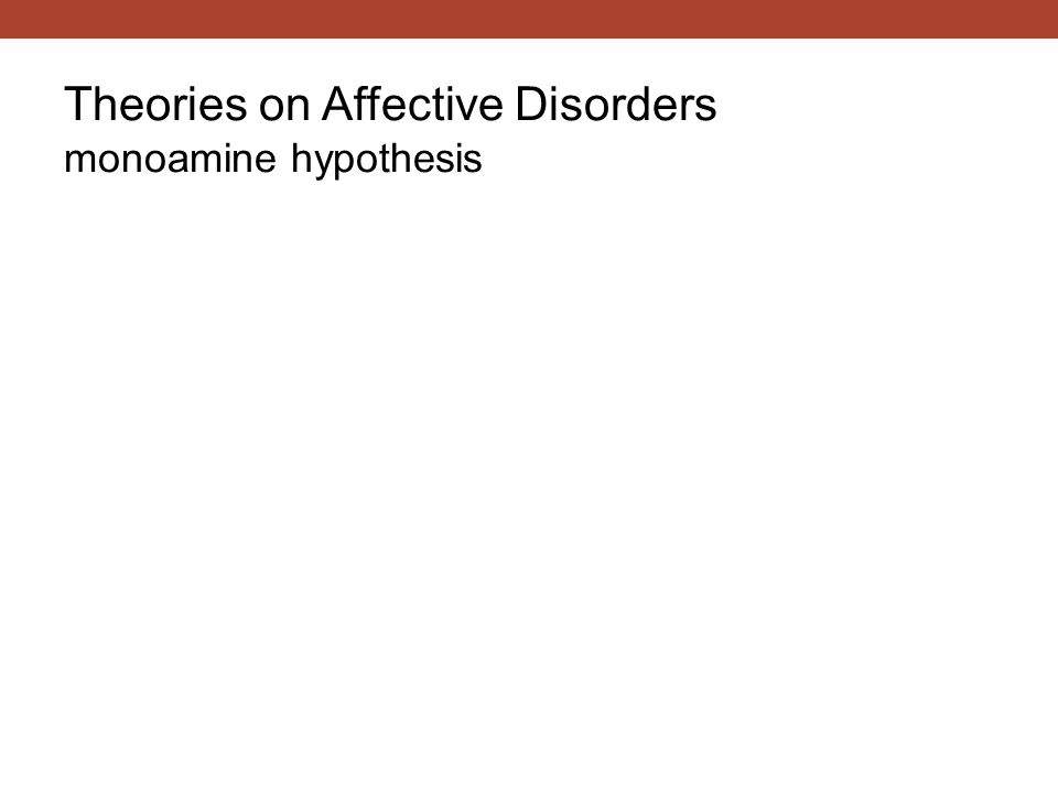 Theories on Affective Disorders monoamine hypothesis