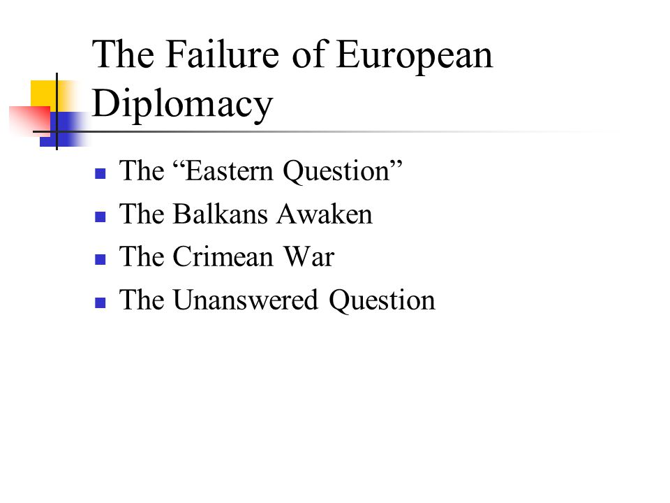 The Failure of European Diplomacy The Eastern Question The Balkans Awaken The Crimean War The Unanswered Question