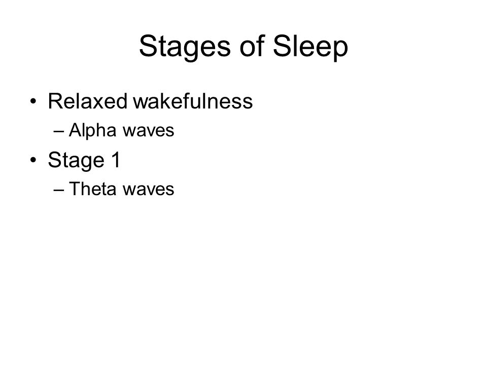Stages of Sleep Relaxed wakefulness –Alpha waves Stage 1 –Theta waves