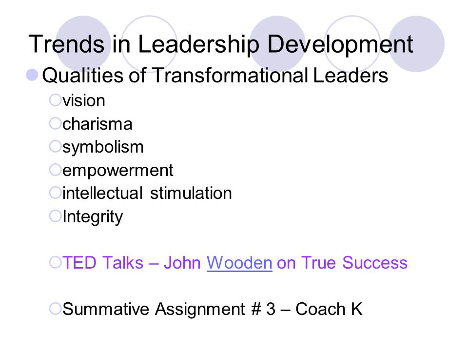 Trends in Leadership Development Qualities of Transformational Leaders  vision  charisma  symbolism  empowerment  intellectual stimulation  Integrity  TED Talks – John Wooden on True SuccessWooden  Summative Assignment # 3 – Coach K