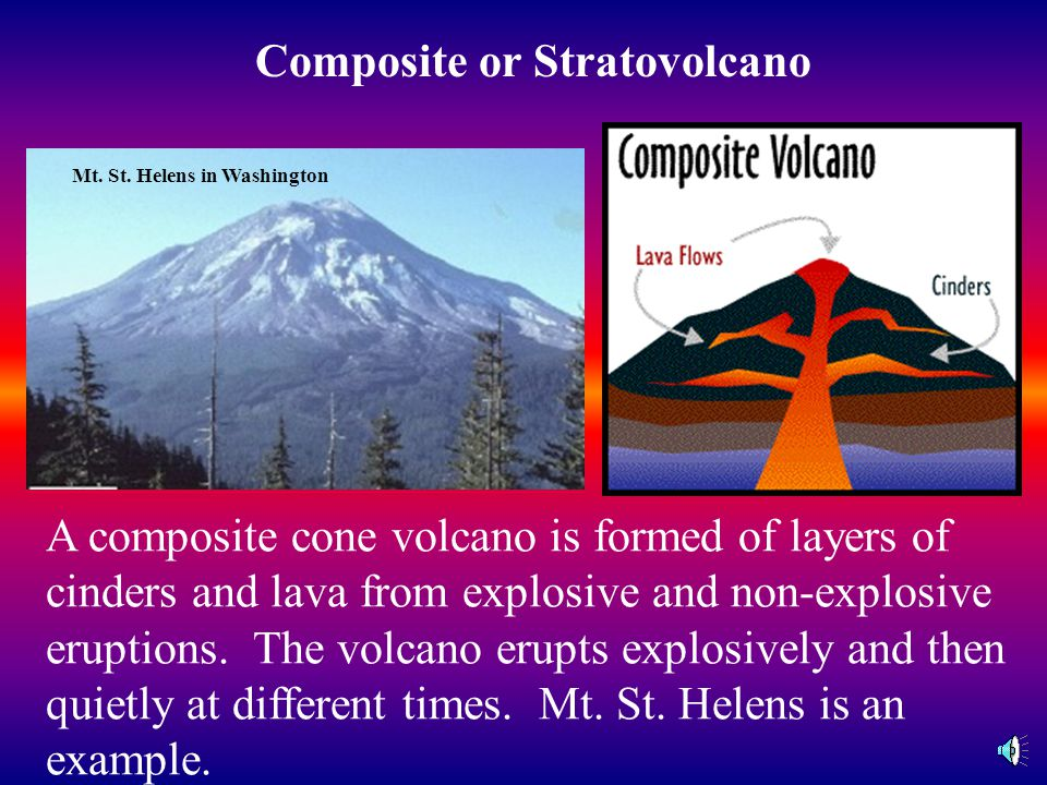 Belknap Volcano in Oregon A shield cone volcano is formed from non- explosive volcanic eruptions. Hot lava flows from the crater and other places in t