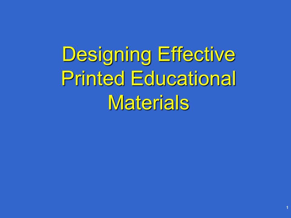 1 Designing Effective Printed Educational Materials