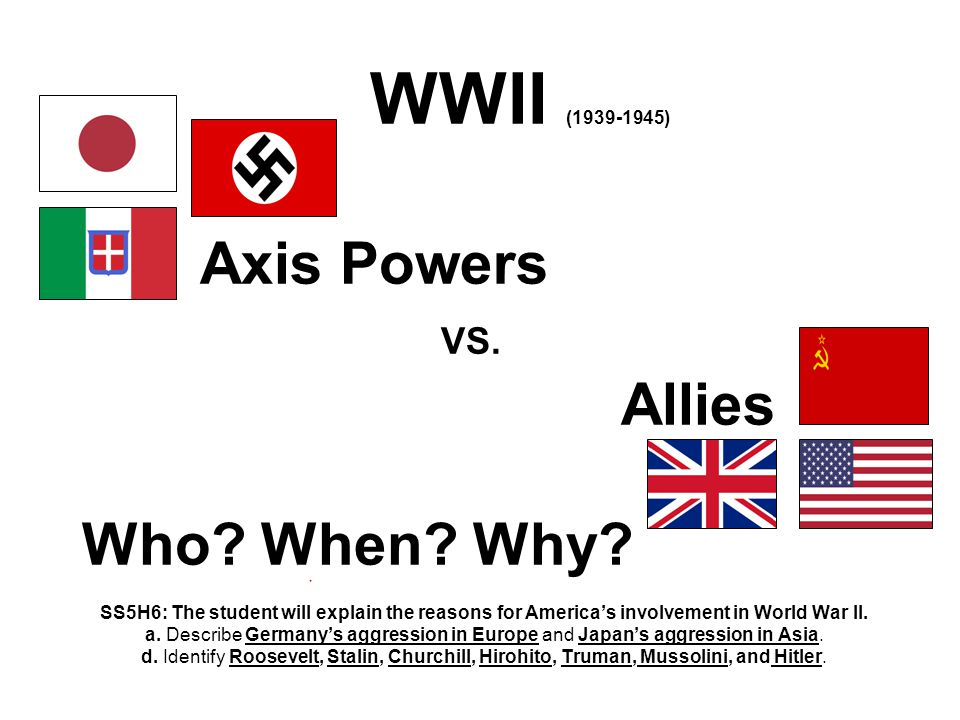 WWII (1939-1945) Axis Powers VS. Allies Who. When.