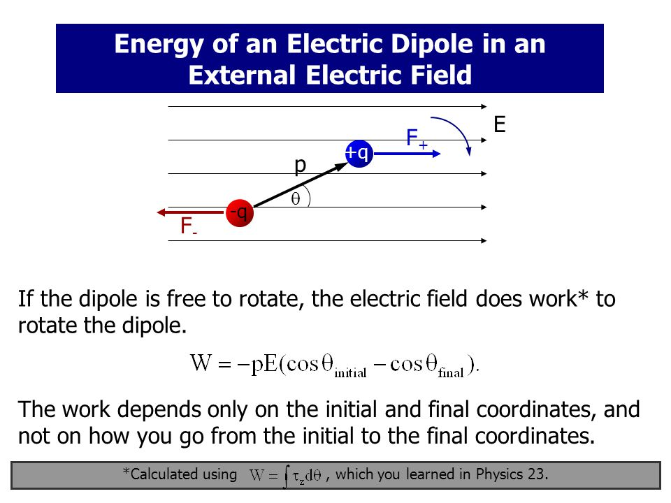 Energy of an Electric Dipole in an External Electric Field If the dipole is free to rotate, the electric field does work* to rotate the dipole.