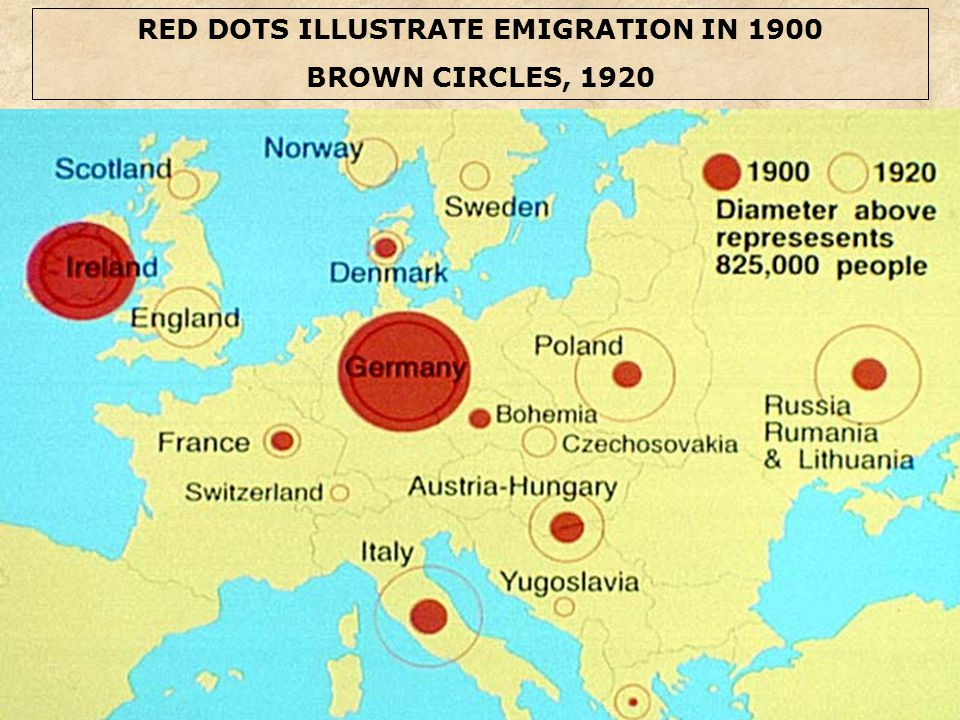 RED DOTS ILLUSTRATE EMIGRATION IN 1900 BROWN CIRCLES, 1920