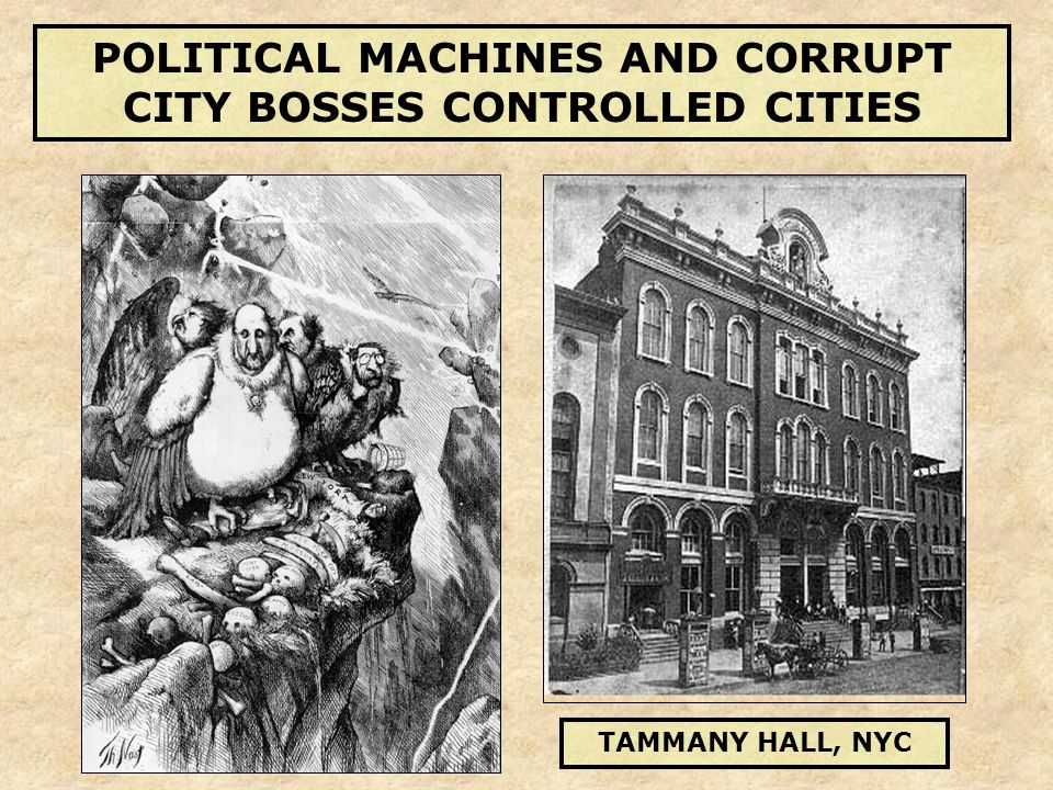 POLITICAL MACHINES AND CORRUPT CITY BOSSES CONTROLLED CITIES TAMMANY HALL, NYC
