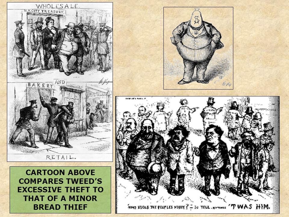 CARTOON ABOVE COMPARES TWEED'S EXCESSIVE THEFT TO THAT OF A MINOR BREAD THIEF
