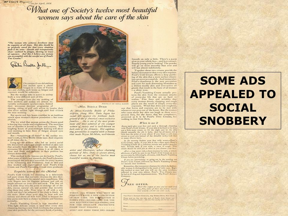 SOME ADS APPEALED TO SOCIAL SNOBBERY