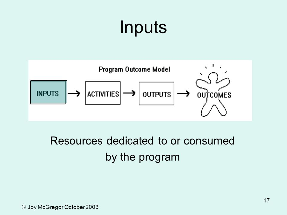 © Joy McGregor October 2003 17 Inputs Resources dedicated to or consumed by the program