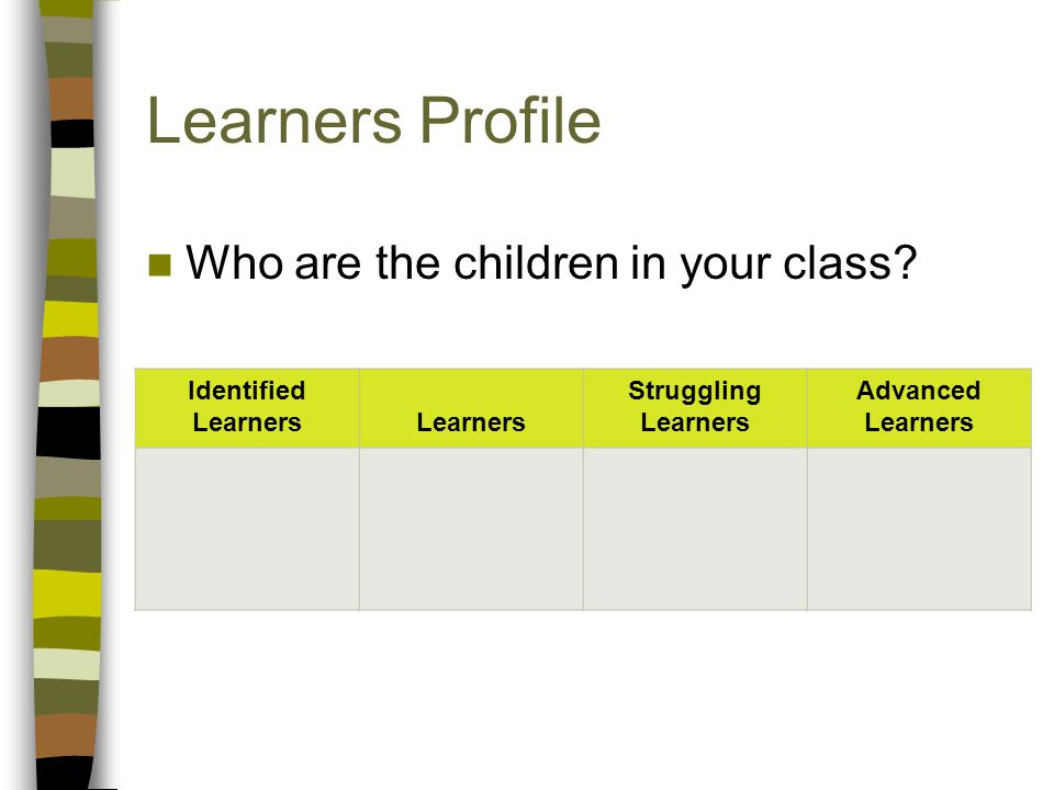 Learners Profile Who are the children in your class.