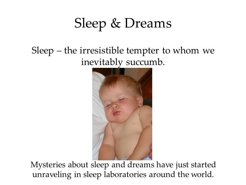 Sleep & Dreams Sleep – the irresistible tempter to whom we inevitably succumb.