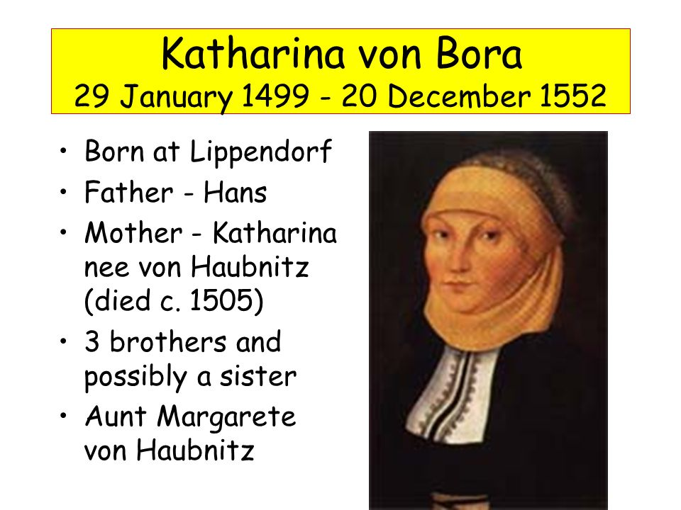 1508/09 placed in Cistercian convent of Marienthron at Nimbschen/Nimptschen 8 October 1515, Kate took her vows 12 nuns escaped with help of Leonhard Koppe