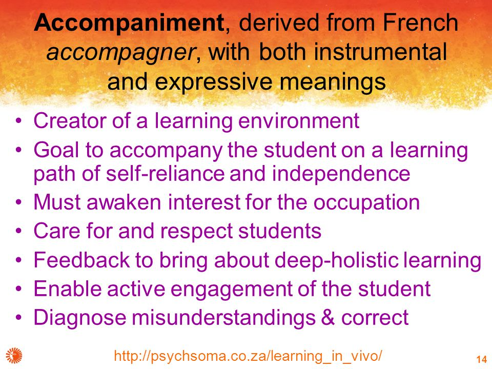 http://psychsoma.co.za/learning_in_vivo/ 14 Accompaniment, derived from French accompagner, with both instrumental and expressive meanings Creator of a learning environment Goal to accompany the student on a learning path of self-reliance and independence Must awaken interest for the occupation Care for and respect students Feedback to bring about deep-holistic learning Enable active engagement of the student Diagnose misunderstandings & correct