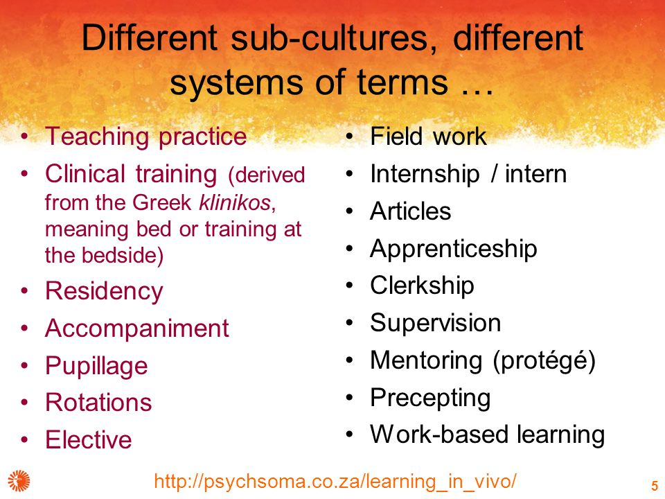 http://psychsoma.co.za/learning_in_vivo/ 5 Different sub-cultures, different systems of terms … Teaching practice Clinical training (derived from the Greek klinikos, meaning bed or training at the bedside) Residency Accompaniment Pupillage Rotations Elective Field work Internship / intern Articles Apprenticeship Clerkship Supervision Mentoring (protégé) Precepting Work-based learning