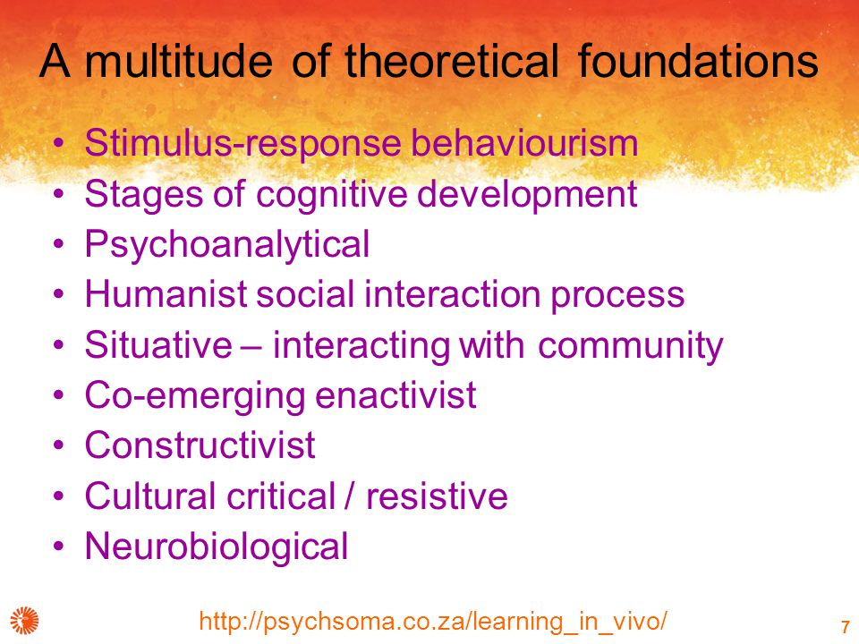 http://psychsoma.co.za/learning_in_vivo/ 7 A multitude of theoretical foundations Stimulus-response behaviourism Stages of cognitive development Psychoanalytical Humanist social interaction process Situative – interacting with community Co-emerging enactivist Constructivist Cultural critical / resistive Neurobiological