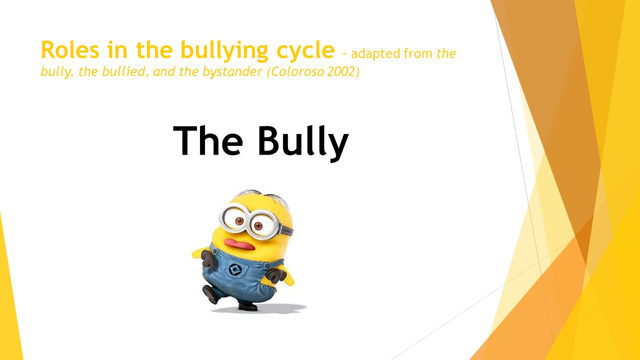 Roles in the bullying cycle – adapted from the bully, the bullied, and the bystander (Coloroso 2002) The Bully
