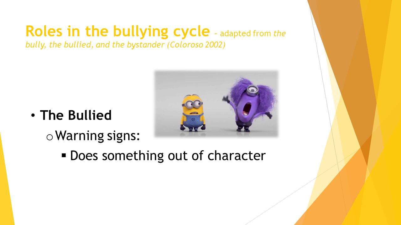 Roles in the bullying cycle – adapted from the bully, the bullied, and the bystander (Coloroso 2002) The Bullied o Warning signs:  Does something out of character