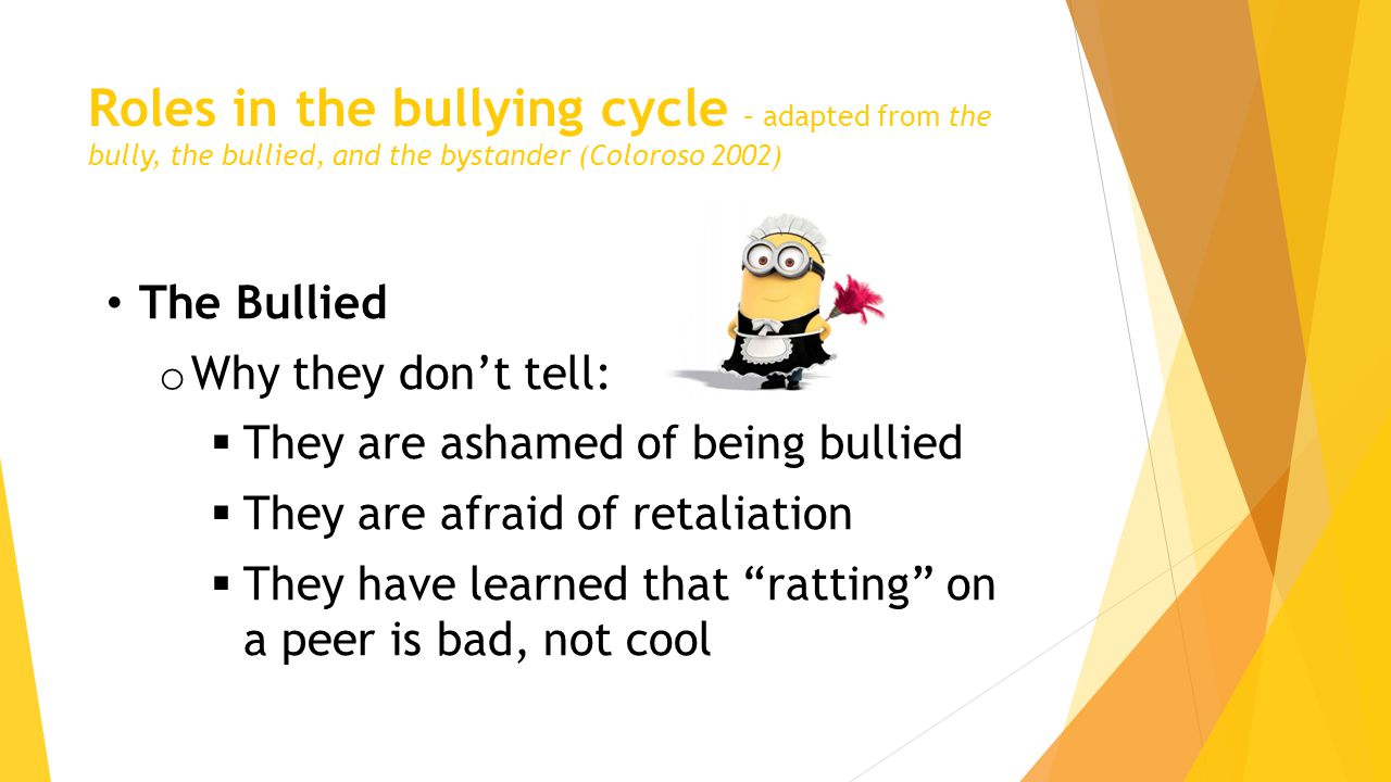 Roles in the bullying cycle – adapted from the bully, the bullied, and the bystander (Coloroso 2002) The Bullied o Why they don't tell:  They are ashamed of being bullied  They are afraid of retaliation  They have learned that ratting on a peer is bad, not cool