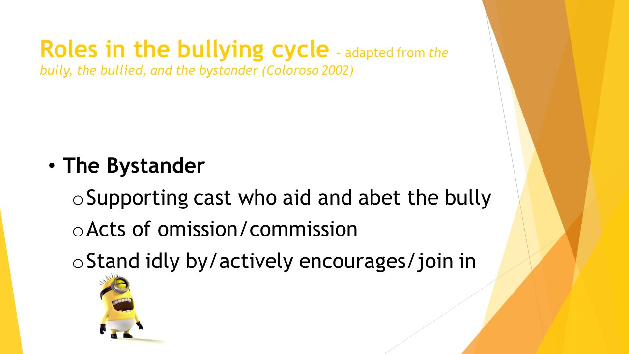 Roles in the bullying cycle – adapted from the bully, the bullied, and the bystander (Coloroso 2002) The Bystander o Supporting cast who aid and abet the bully o Acts of omission/commission o Stand idly by/actively encourages/join in